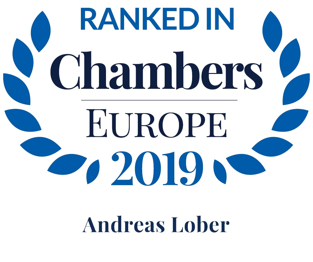 Dr. Andreas Lober, Empfohlener Anwalt durch Chambers Europe 2019