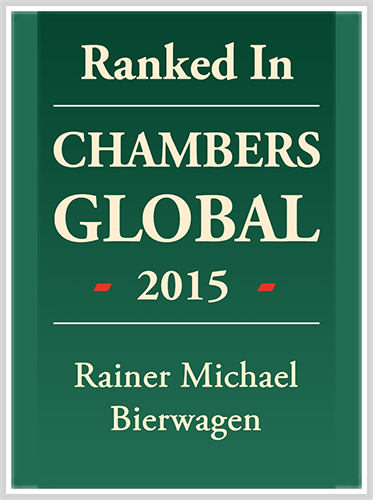 Rainer Bierwagen ranked in Chambers Global 2015