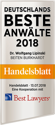 Wolfgang Lipinski, Recommended Lawyer by Handelsblatt und Best Lawyer 2018