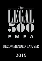 Recommeded Lawyer by Legal 500 EMEA 2015