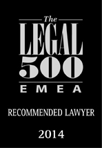 Recommeded Lawyer by Legal 500 EMEA 2014