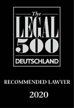 Recommended Lawyer, Legal500 Deutschland 2020