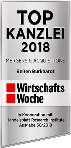 Top Law Firm for M&A, WiWo 2018
