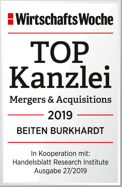 TOPKanzlei für Mergers & Acquisitions, WiWo 2019
