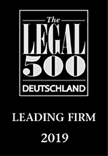 Legal 500 Germany Leading Firm 2019