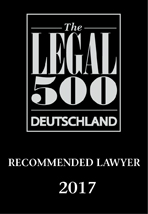 Wolfgang Lipinski, Recommeded Lawyer by Legal 500 Deutschland 2017