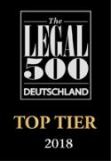 Top Tier, Legal 500 Deutschland 2018
