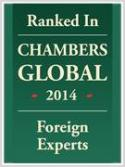 Ranked in Chambers Global2014, foreign experts